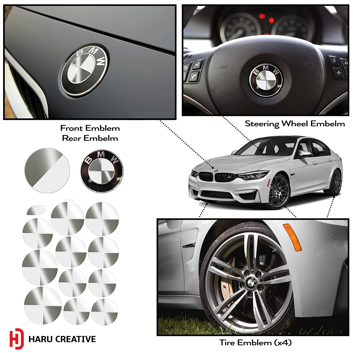 Vinyl Overlay Aftermarket Decal Sticker Compatible with and Fits All BMW Emblem Caps for Hood Trunk Wheel Fender - Gloss White and Blue Emblem Not Included Haru Creative