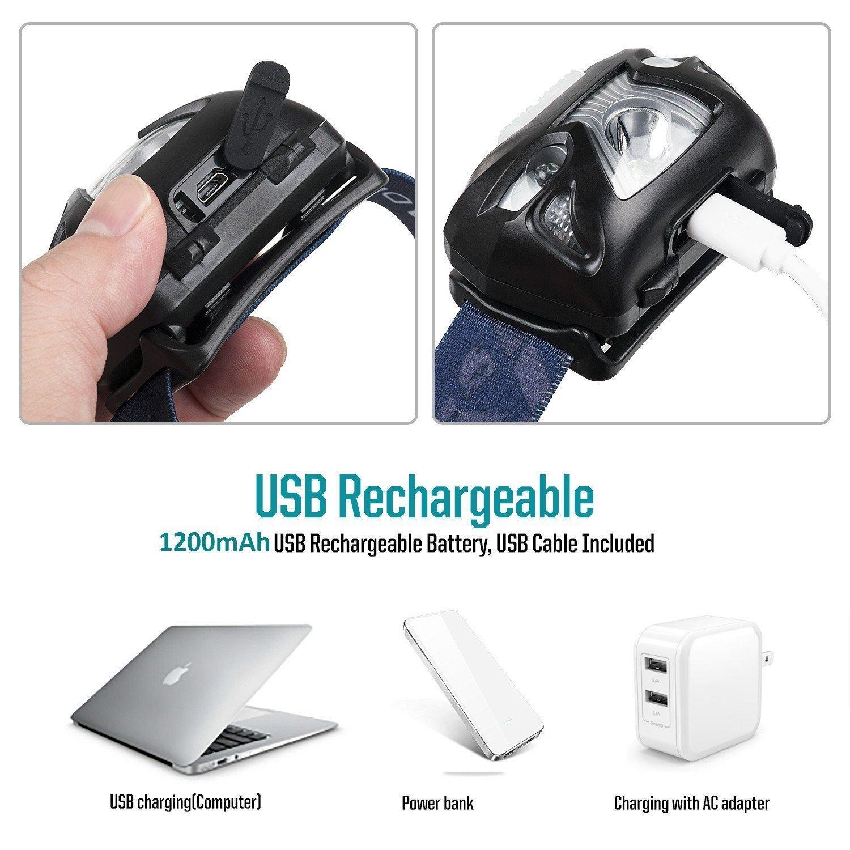 Amazon.com: Linterna Recargable Detector De Movimiento Impermeable 6 Modos Peso Ligero: Kitchen & Dining
