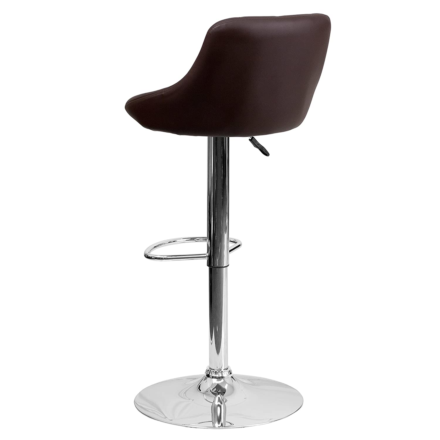 Flash Furniture Contemporary Brown Vinyl Bucket Seat Adjustable Height Barstool with Chrome Base