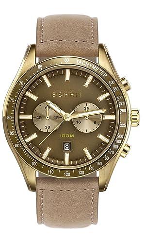 ESPRIT Reloj Cronógrafo para Hombre de Cuarzo con Correa en Cuero ES108241003: Amazon.es: Relojes