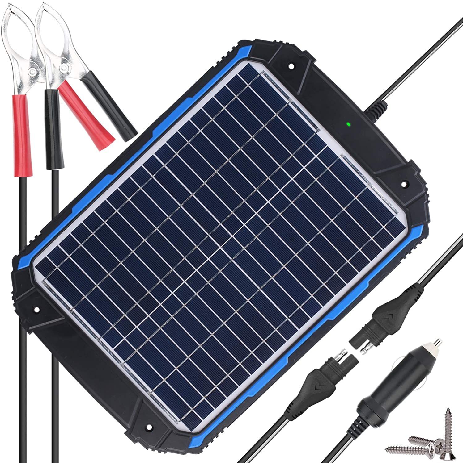 SUNER POWER Upgraded 12V Waterproof Solar Battery Charger Maintainer Pro – Built-in Intelligent MPPT Charge Controller – 18W Solar Panel Trickle Charging Kit for Car, Marine, Motorcycle, RV, etc