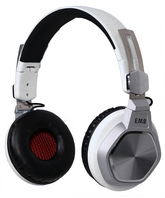 EMB ebh712-w Bluetoothヘッドホン、Hi - Fiステレオセット、折りたたみ式withソフトメモリProtein Earmuffs、のマイク内蔵ハンズフリー通話   B0791MX6R6