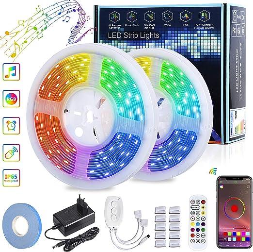 Tiras LED 10M, RGB 5050 Bluetooth Smart led strip, IP65 a prueba de agua banda led,
