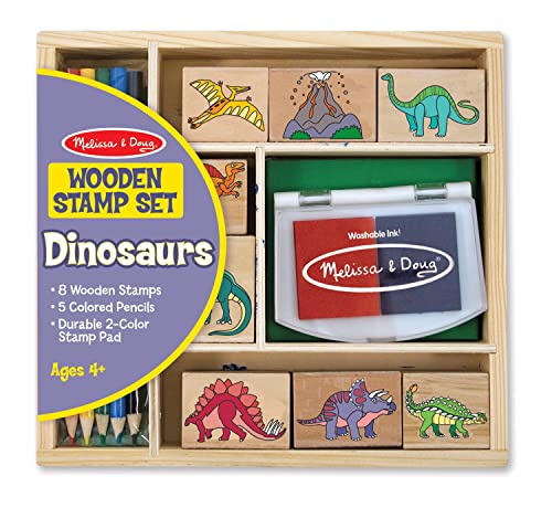 Melissa & Doug Wooden Stamp Set:  Dinosaurs - 8 Stamps, 5 Coloured Pencils, 2-Colour Stamp Pad