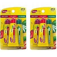 Carmex Moisturizing Lip Balm 3 Tubes Assorted Flavor - Fresh Cherry, Strawberry, Wintergreen (2 Pack)