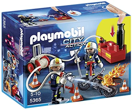 Toy Playmobil City Action Fire Engine with Working Water Cannon