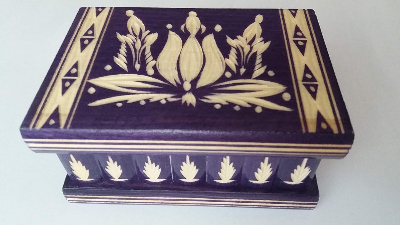 Nueva violeta mano especial hermosa tallada, caja de madera hecha a mano del rompecabezas, caja secreta, caja mágica, caja de joyería, bromista, caja de almacenaje, caja del designe de la flor: Amazon.es: