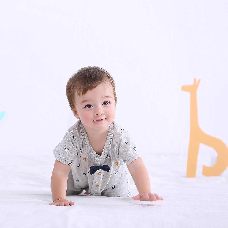 pureborn Infant Short Sleeve Bodysuit Cute Cartoon Romper Outfits Baby Boys Girls