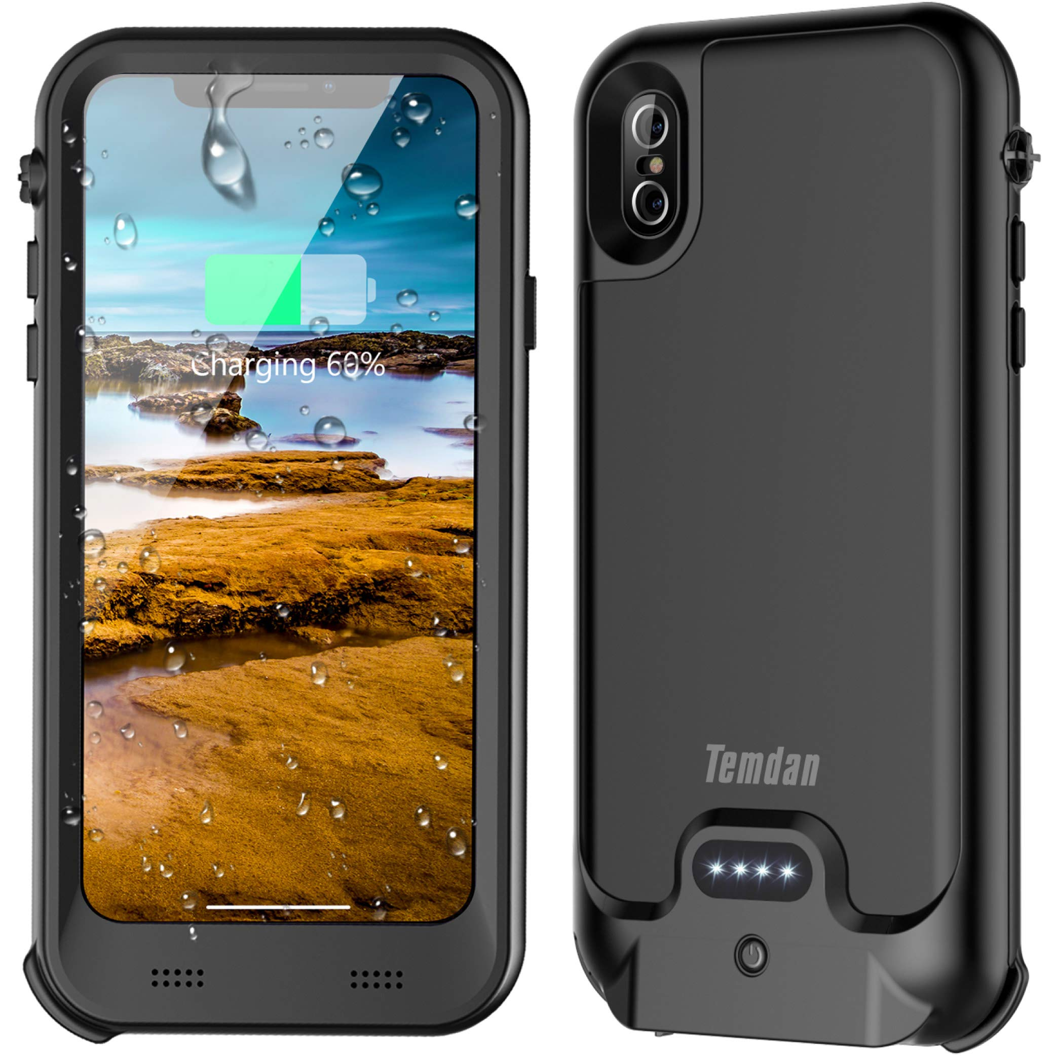 2018 iPhone X/XS Waterproof Battery Case with Qi Wireless Charging, Temdan 3600mAh Charger Case with Screen Protector Rechargeable Rugged Power Charging Case QI Battery Case for iPhone X/Xs(5.8inch)