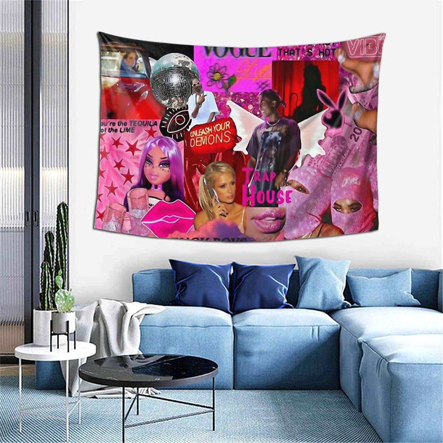 Baddie Printed Tapestries Wall Hanging for Living Room Home Decor 60inX40in