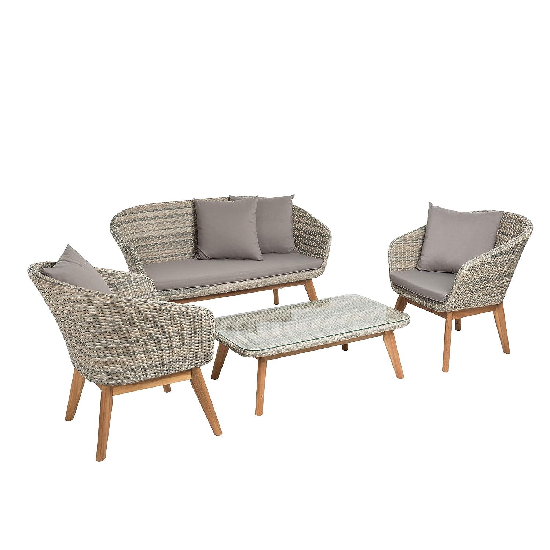 IHD Polyrattan Sitzgruppe; 2-Sitzer Sofa mit Zwei Sesseln und Tisch; Halbrundrattan, beige-grau; inklusive Polster