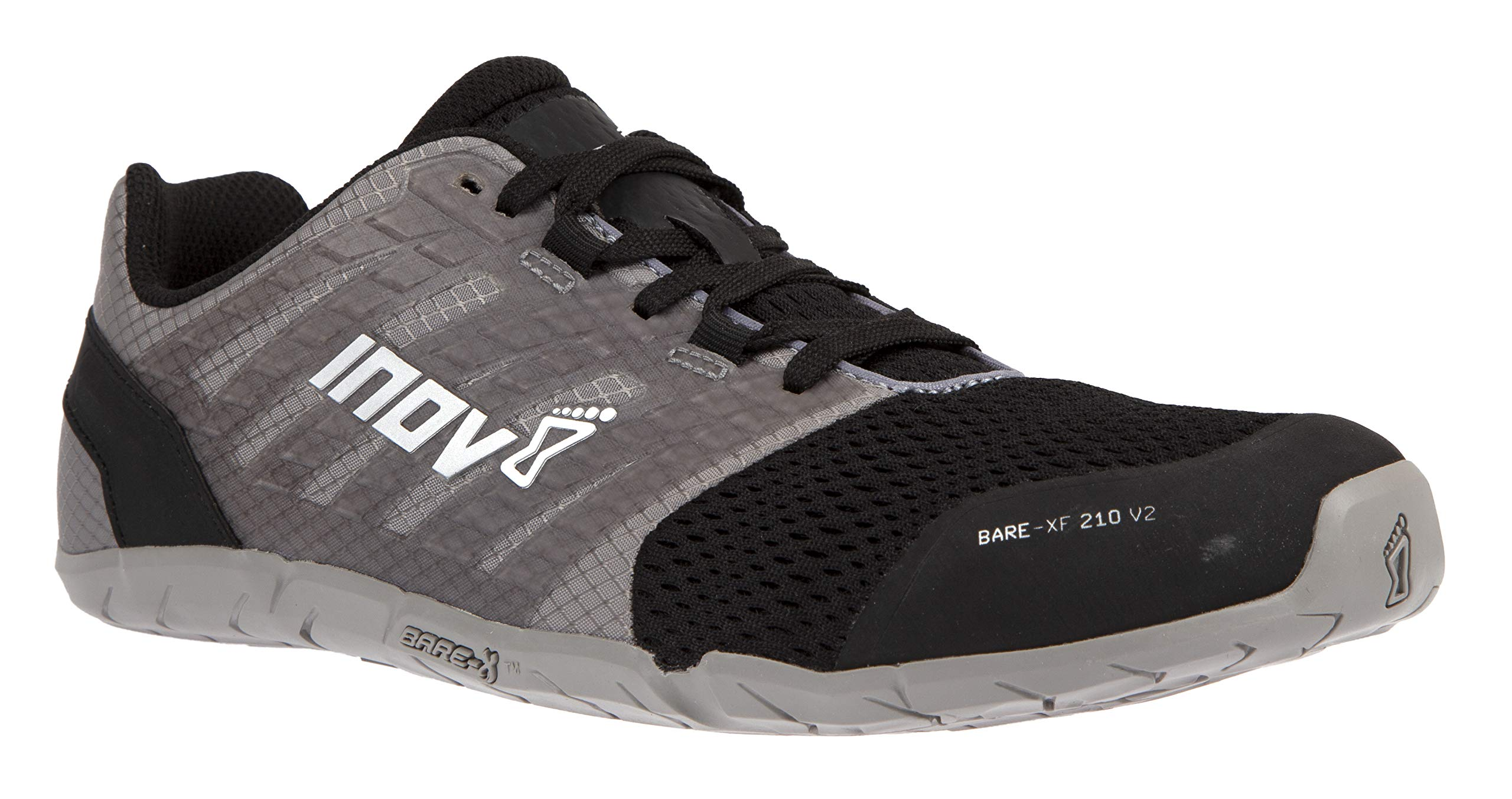 Inov-8 Womens Bare-XF 210 V2 - Barefoot Minimalist Cross Training Shoes - Zero Drop - Wide Toe Box - Versatile Shoe for Powerlifting & Gym - Calisthenics & Martial Arts - Grey/Black 8 W US by Inov-8