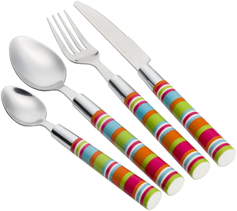 Flamefield Camper Smiles 16 Piece Stripe Cutlery Set   B01MR3DB7U