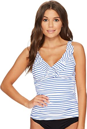 Lauren by Ralph Lauren Women\u0027s City Stripe Ruffle Tankini White/Blue 16 at  Amazon Women\u0027s Clothing store: