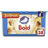 Bold 3-in-1 Pods with a Touch of Lenor Long Lasting Freshness, 38 Washes,Gold Orchid and Moringa Washing Capsules