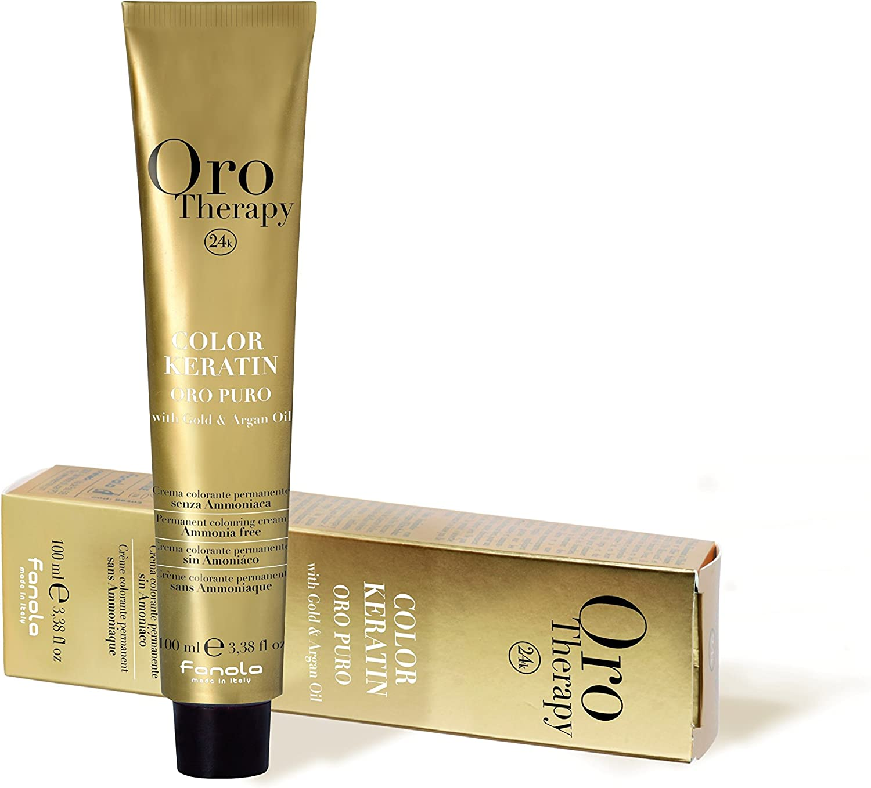 Fanola - Oro Therapy Color Keratin Puro, crema colorante permanente 100 ml 8.4 Hellblond Kupfer