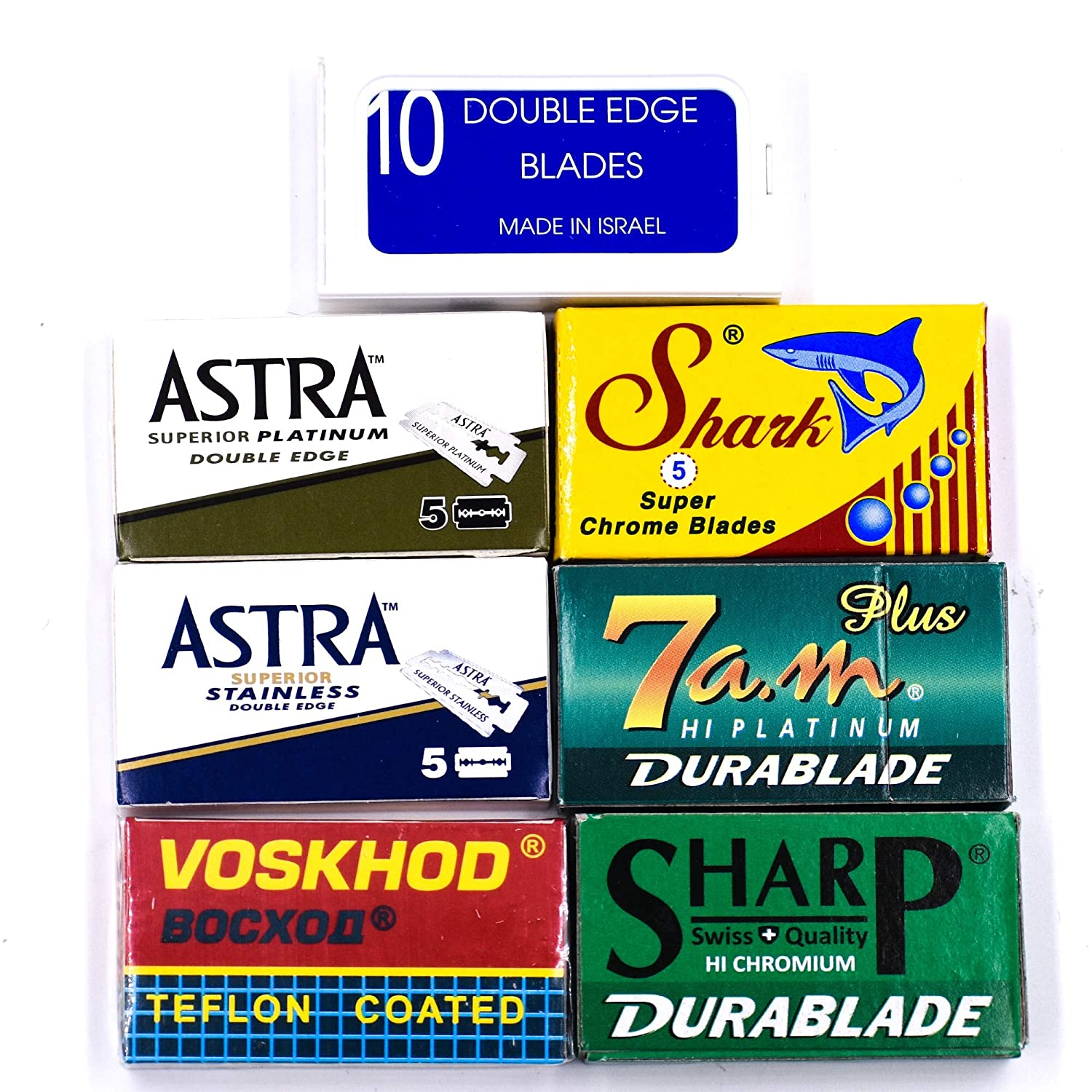 Double Edge Safety Razor Blade Variety Sampler Pack, 100 Blades Compatible with All Standard Double Edge Safety Razors - Includes Blades from Crystal, Astra, Shark, Sharp, Voskhod, 7am