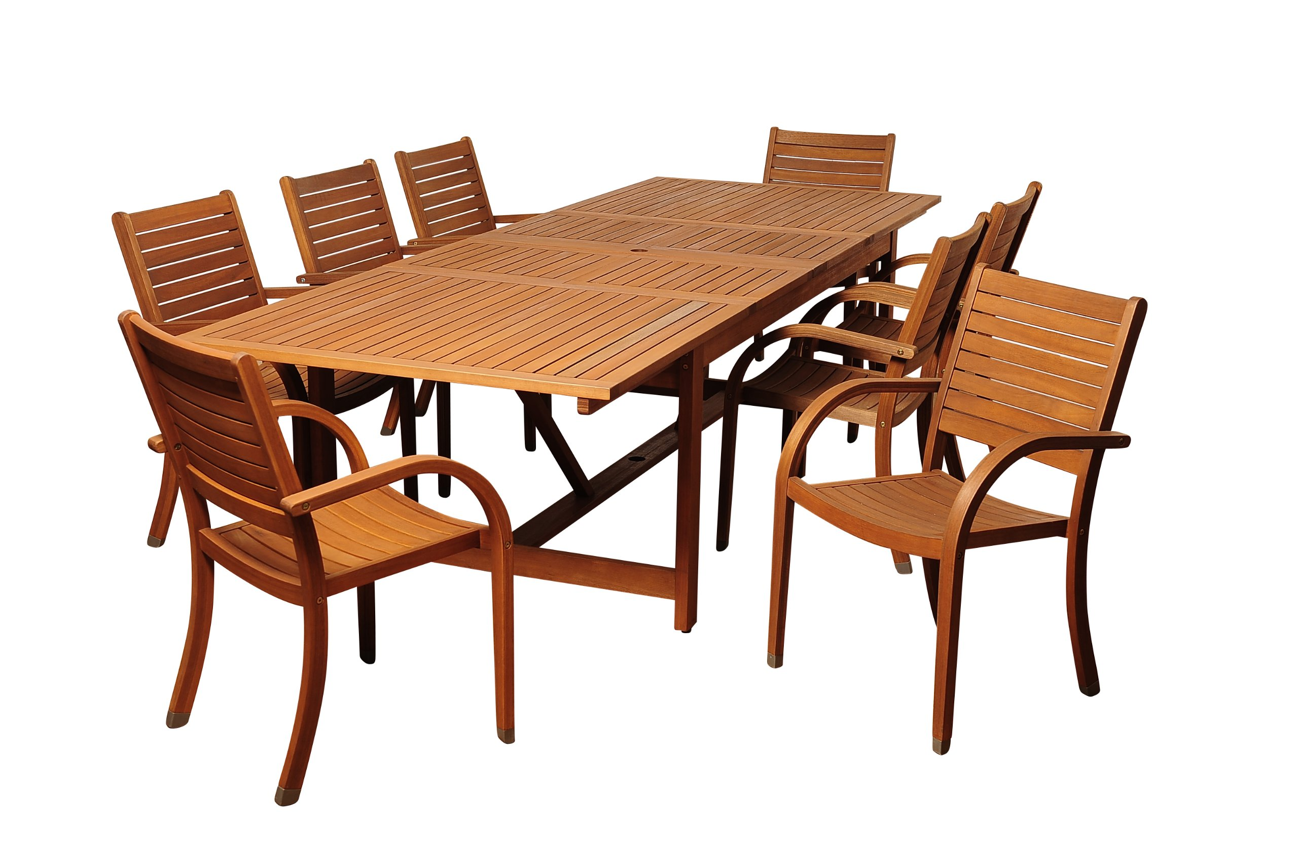 Brampton Eucalyptus 9-pc Patio Dining Set, Brown - Durable all-weather design ideal for any climate Its resistance to weather and UV radiation makes the set durable and enjoyable Durable all-weather design ideal for any climate - patio-furniture, dining-sets-patio-funiture, patio - 81yuRXJk1VL -