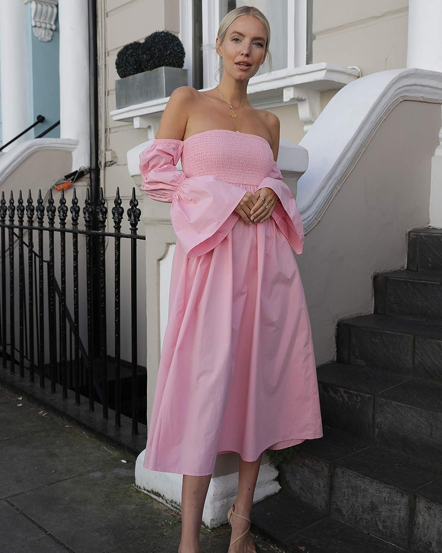 maniche a palloncino a strati rosa confetto standard The Drop by @Leoniehanne abito midi da donna spalle scoperte vestibilit/à morbida