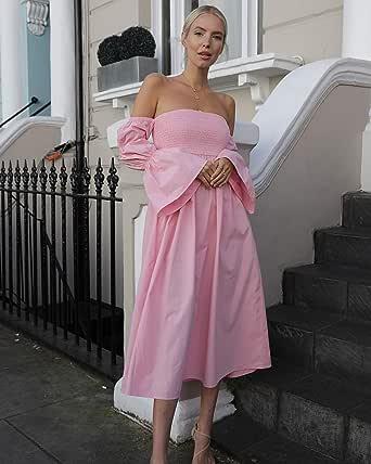 The Drop Vestido midi suelto rosa chicle con mangas abullonadas y hombros descubiertos para mujer por @leoniehanne