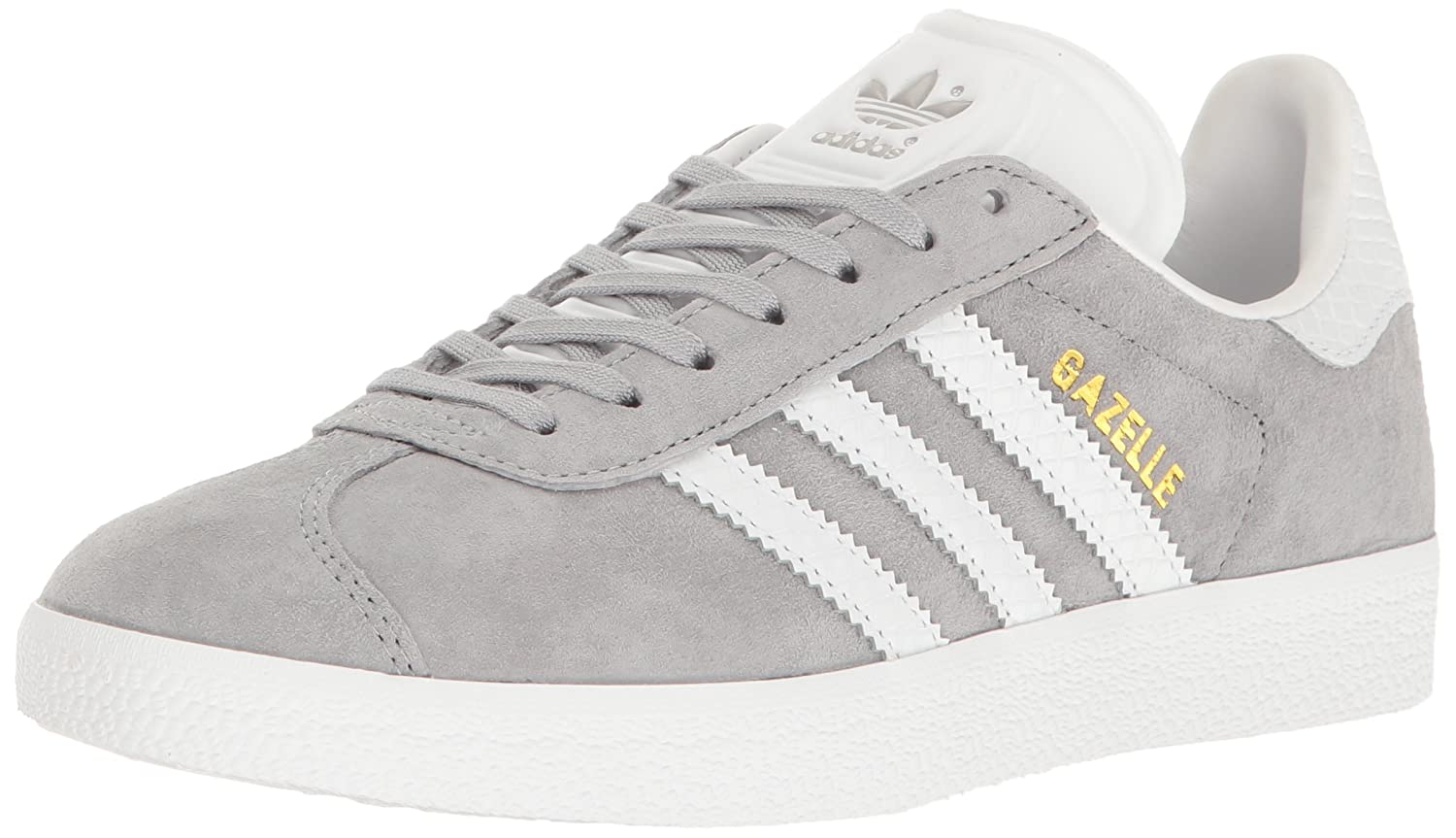 adidas Originals Women's Gazelle Fashion Sneakers B01HNFTV2W 8.5 M US|Mid Grey White/Metallic/Gold