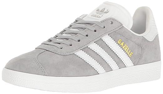 adidas Originals Women's Shoes | Gazelle Fashion Sneakers, Mid Grey White/Metallic/Gold