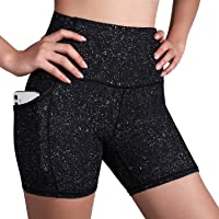 """ODODOS Women's Out Pockets High Waisted Pattern Workout 5"""" Shorts, Yoga Athletic Cycling Hiking Sports Shorts"""