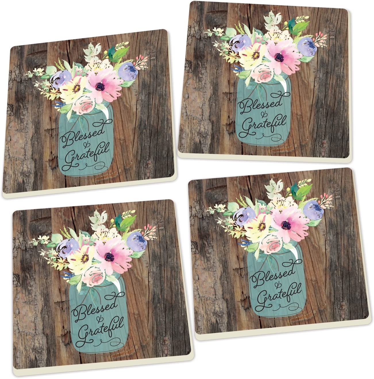 Blessed & Grateful Floral Mason Jar Wood Look 4 x 4 Absorbent Ceramic Coasters Set of 4