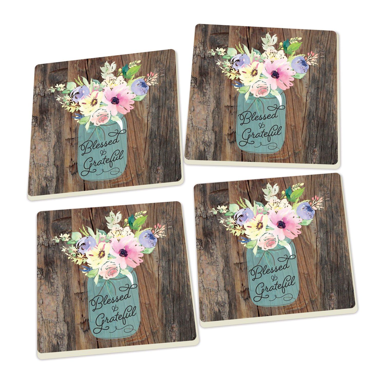 Blessed & Grateful Floral Mason Jar Wood Look Set of 4 Ceramic Coaster Pack