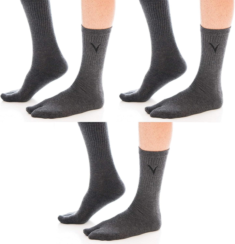 V-Toe Flip-Flop Socks Tabi Big Toe Thicker Athletic Cotton Blend Mens and Womens Functional Fashionable Socks 3 Packs