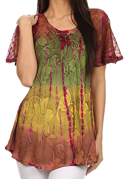 5e707c1f10f15 Sakkas 14783 - Dina Relaxed Fit Sequin Tie Dye Embroidery Cap Sleeves Blouse Top  -