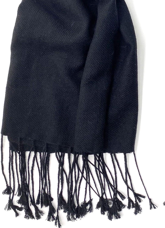 NEW Women Soft 2ply PASHMINA//Cashmere Classic SHAWL Scarf Stole WRAP Black