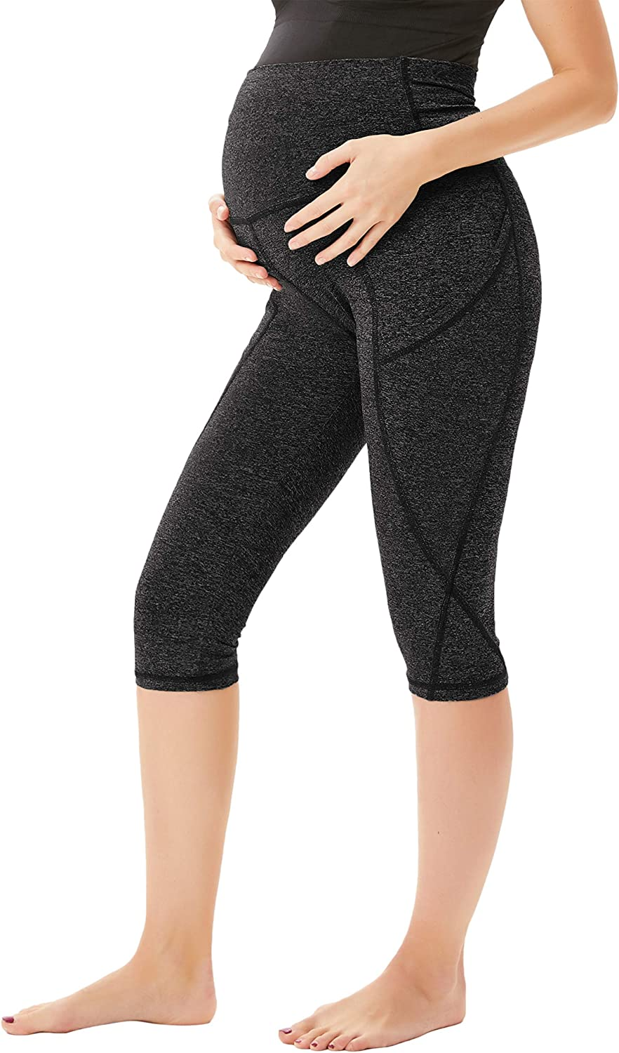 Women Maternity Over The Belly Active Lounge Comfy Capri ...