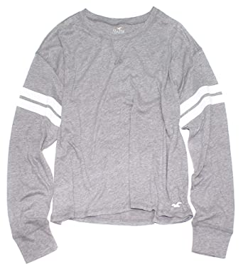 6e0437db1d Hollister Women's Must-Have Collection Crop Boyfriend Long Sleeve Thin Tee  How-4 at Amazon Women's Clothing store: