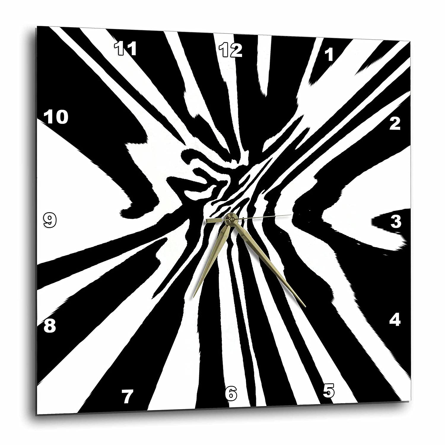 dpp/_25734/_1 Black and White Abstract Art 10x10 Wall Clock 3dRose Patricia Sanders Creations