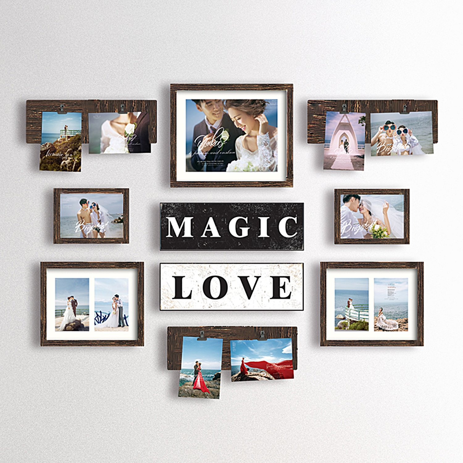 Hello Laura Magic Love Photo Frame | Picture Frame Set - Valentine Day Couple Birthday Made to Display Three 4x6 Photos - Ready to Hang or Stand with Built in Easel
