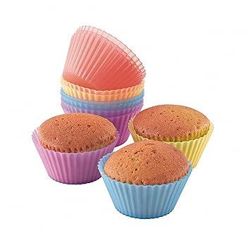 Domoclip MEN77 - Moldes de silicona para cupcakes (12 unidades), colores surtidos: Amazon.es: Hogar