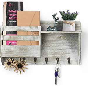 Key Mail Holder for Wall, Rustic Mail Sorter Key Hanger with 6 Sturdy Hooks Letter Bills Magazine Organizers Home Decorative for Farmhouse Entryroom Mudroom Hallway Kitchen Office Garage, Rustic Green