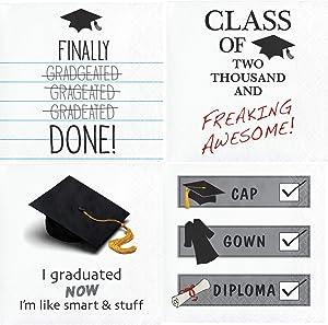 Tassel Talk Graduation Themed Cocktail Napkins Variety Beverage Paper Napkins Assorted 64 Count Set