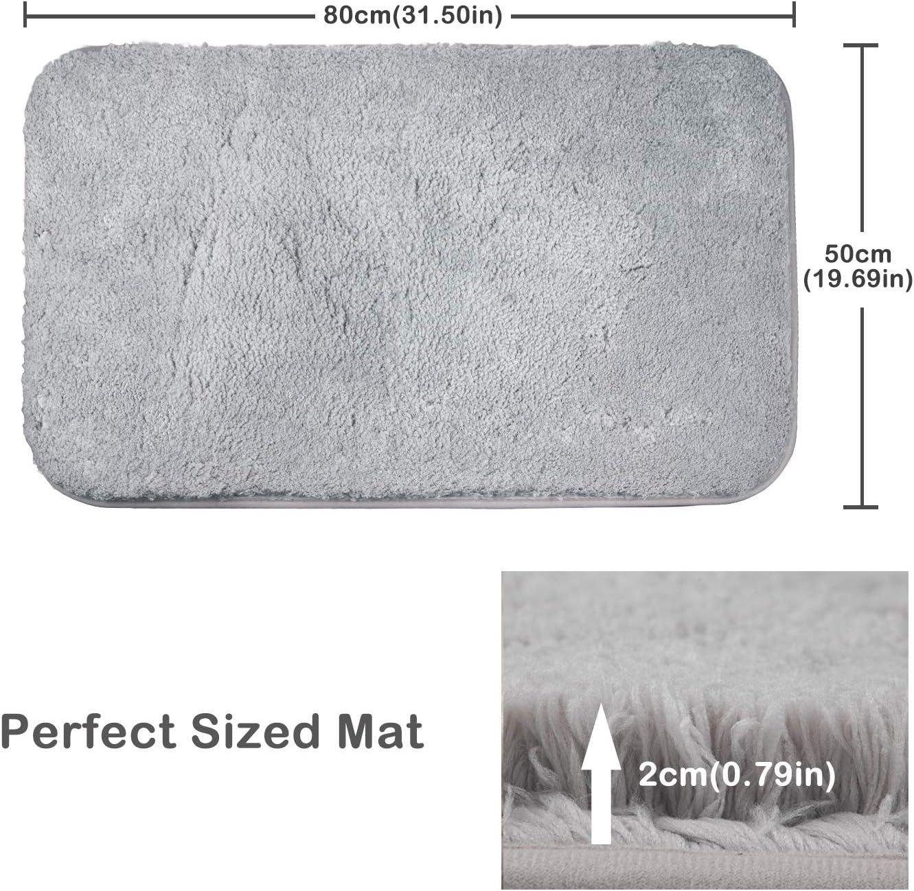 Tappetino Lavabile in Lavatrice con Microfibre Morbide Assorbenti per Vasca FCSDETAIL Tappeti da Bagno a Pelo Lungo Antiscivolo 50X80 cm Doccia e Bagno