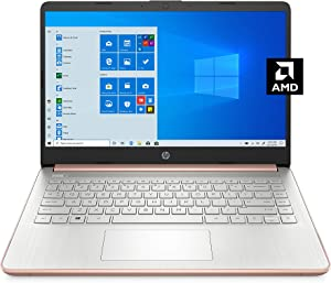HP - 14-fq0030nr 14 Laptop, AMD 3020e, 4 GB RAM, 64 GB eMMC Storage, 14-inch HD Display, Windows 10 Home in S Mode, Long Battery Life, Microsoft 365, (14-fq0030nr, 2020) Pale Rose Gold