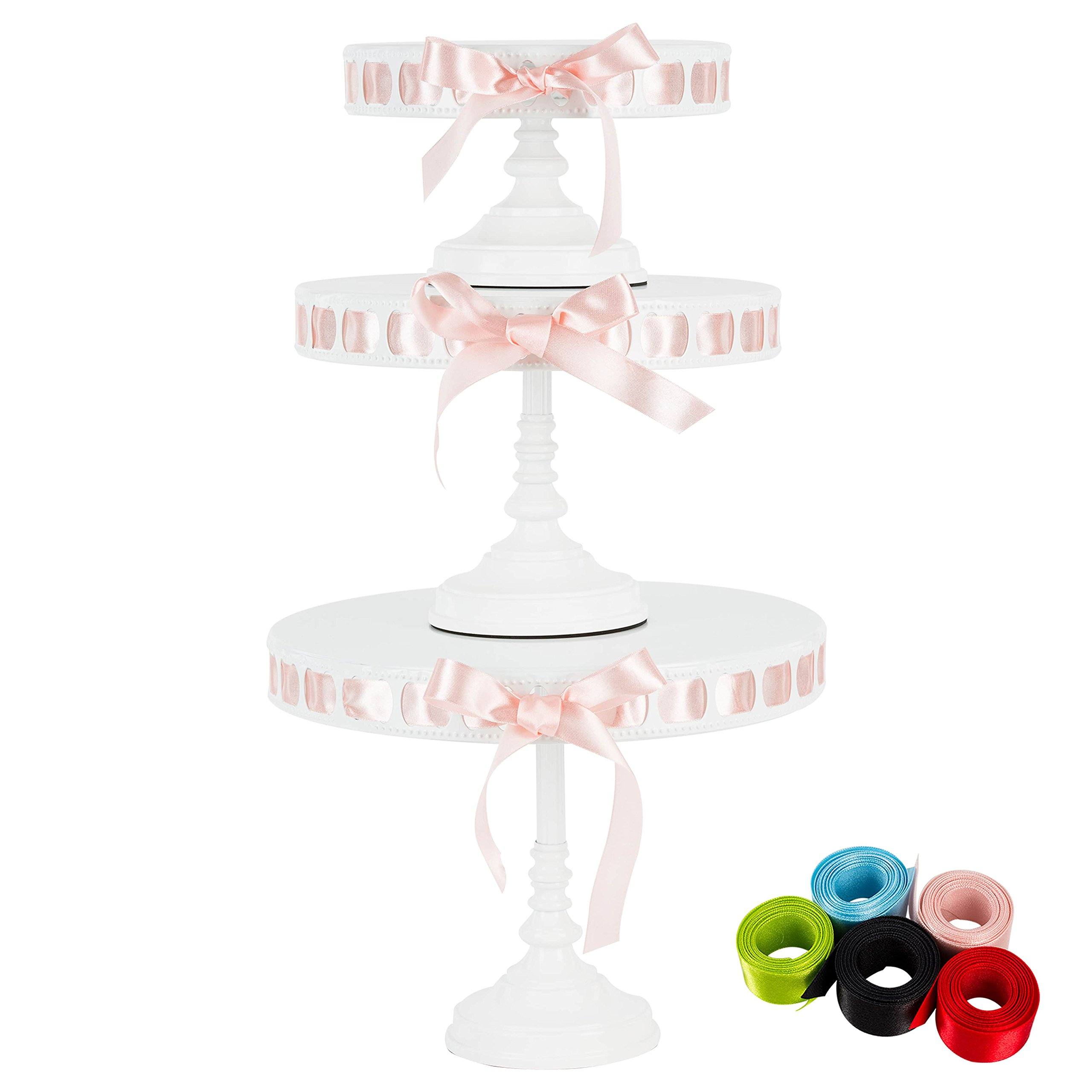 Lily 3-Piece White Metal Ribbon Cake Stand Set, Round DIY Display Pedestal 15 Interchangeable Satin Ribbons Included