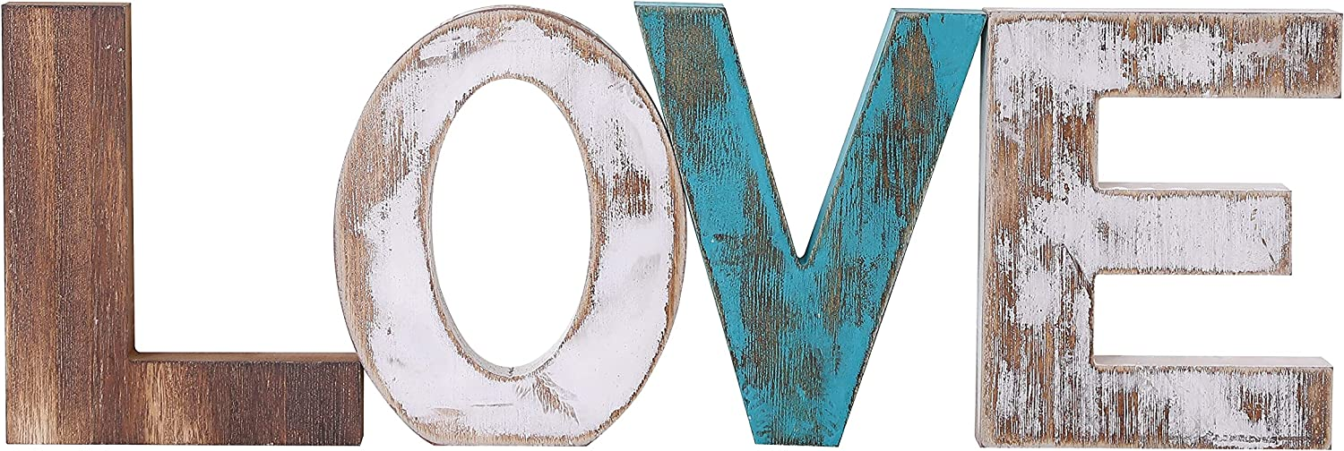 N\C Rustic Wood Love Decor Sign Farmhouse Freestanding Wooden Love Letters Clearance Decor Tabletop Decor Sign Living Room Kitchen Mantel Wall Decoration with Double Sided Tape Multicolor