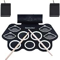 Asmuse Juego de Batería Electrónica Drum Kit Rolling up 9 Almohadillas Eléctrica Drum Kit de Instrumentos para Niños con…