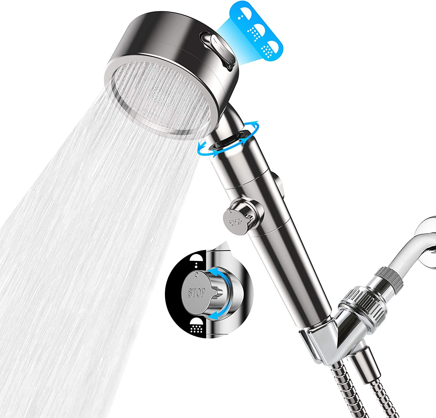 High Quality Shower Head HandHeld Water Filter ABS Plastic Water-saving Home US