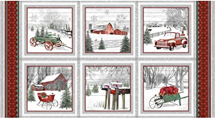 Fabric Henry Glass Red Truck Red Barn Winter BHY