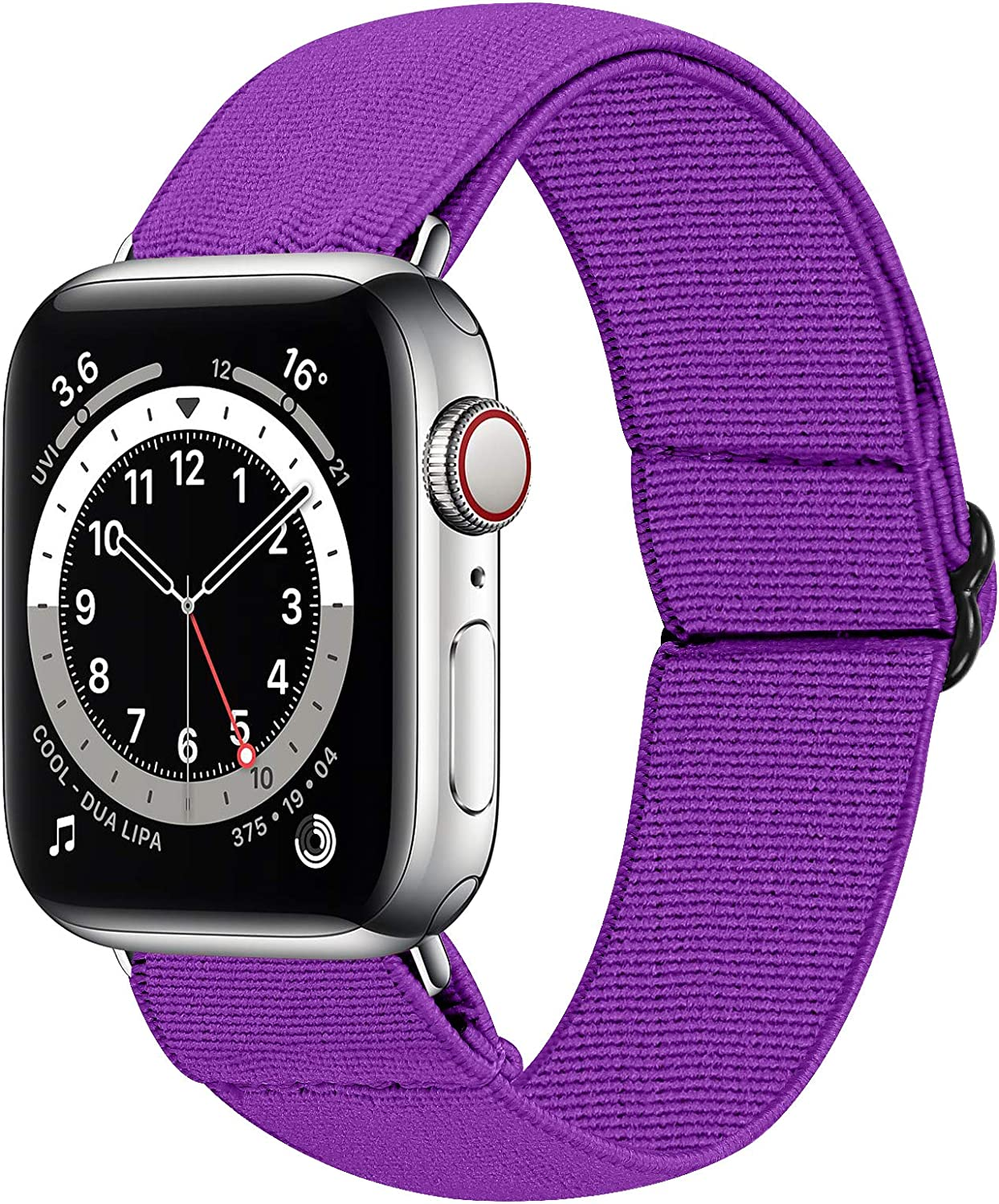 HAYUL Stretchy Nylon Bands Compatible with Apple Watch Bands 38mm 40mm 42mm 44mm, Adjustable Sport Elastics Women Men Wristband for iWatch Series 6/5/4/3/2/1 SE (Purple, 42/44mm)