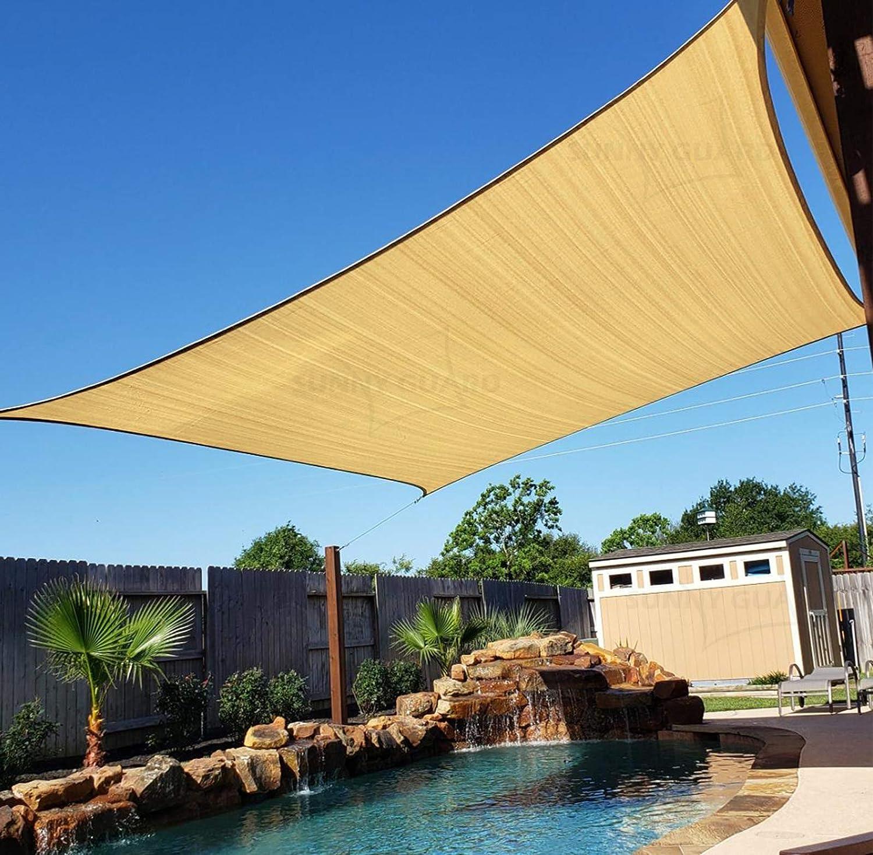 """SUNNY GUARD 6.5' x 9'10"""" Sand Rectangle Sun Shade Sail UV Block for Outdoor Patio Garden"""