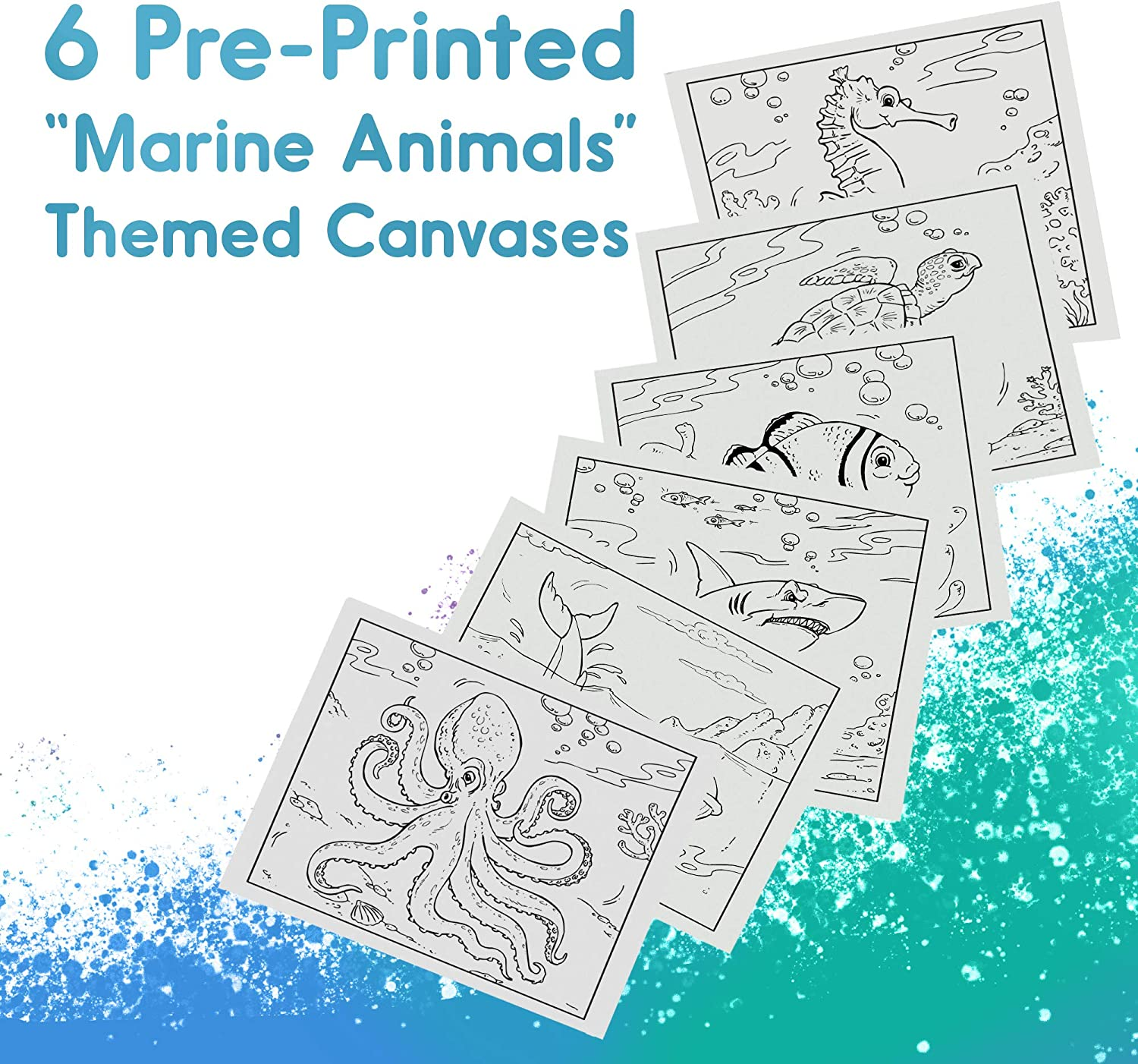 6 Canvas Set FyneArt 100 Percent Cotton and Acid Free Canvases Primed 6 Princess Party Themed Pre-Sketched Panels 8x10 inches Canvas for Painting with Stencil Drawings for Artist Kids +6yrs