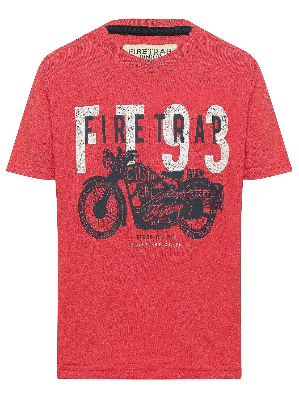 Firetrap Boys 100% Cotton Red Short Sleeve Crew Neck Motorbike Print Logo T- Shirt Red 2 3 Yr  Amazon.co.uk  Clothing 8af521168